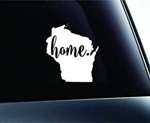 #3 Home Wisconsin State Madison Symbol Sticker Decal Car Truck Window Computer Laptop (White)