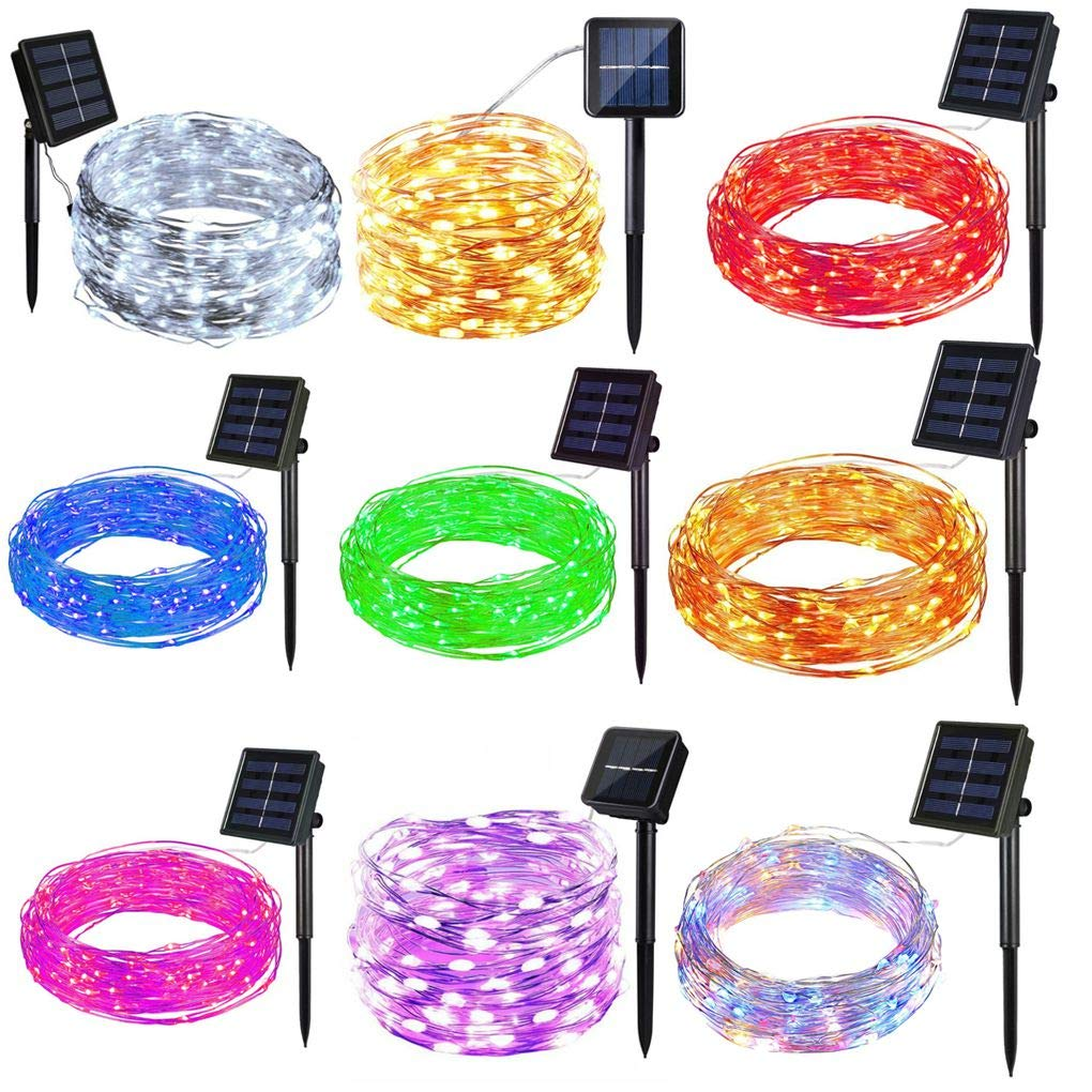 LafyHo 10M Solar Powered 100LED Copper Wire Cable LED String Light Party LED String Light Outdoor Yard Garden Festival Party Waterproof Light 1