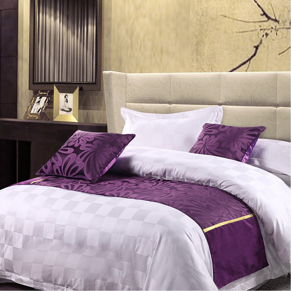 Y-Step Bed Runner Pillowcase Cover Hotel Guesthouse Bedding Decor Purple Floral 3 size