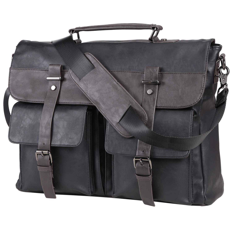 Leather Messenger Bag for Men, Vintage Leather Laptop Bag Briefcase Satchel, 15.6 Inch Computer Large Messenger Bag Water Resistant School Work Bag (Black)