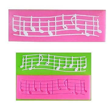 Notas musicales en el Pentagrama Derecho Molde de silicona para la torta de Decoración Pastel de Cupcake Toppers Glaseado Sugarcraft Tool por Fairie ...