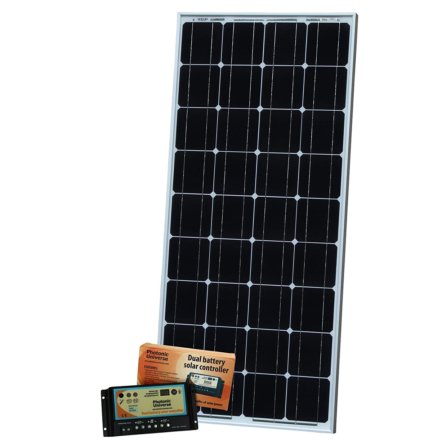 100W Photonic Universe monocrystalline dual battery solar charging kit with 10A automatic solar charge controller (prevents overcharge and back flow) and 5m cable for charging 12V battery SPA-100M-DB1024