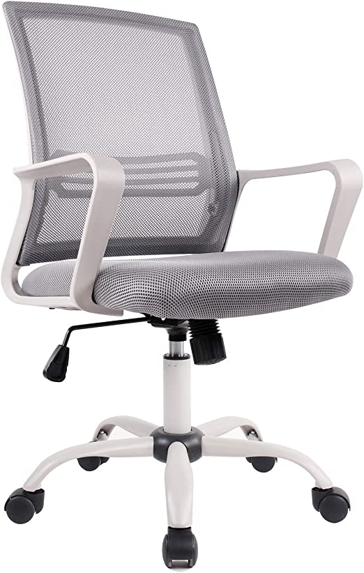white and grey office swivel chair White and grey mesh office chair on wheels