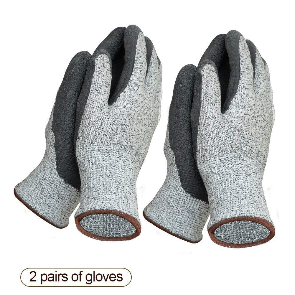 Garden Gloves 2 packs for Women and Men Super Grippy with Special Protective Coating Against Cuts and Dirt Premium Breathable Waterproof Work Glove for Gardening, Fishing, Clamming, Restoration Work