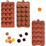 Poproo Flower Shaped 3-piece Candy Molds Set, 15-cavities Silicone Chocolate Ice Cube Mold, Tulip Rose Sunflower Lotus Shapes