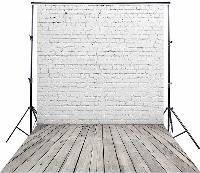 VV Photography Background 5x7 Off White Brick Wood Door Grey Windows Photography Backdrop Room Wedding Backdrops for Photos