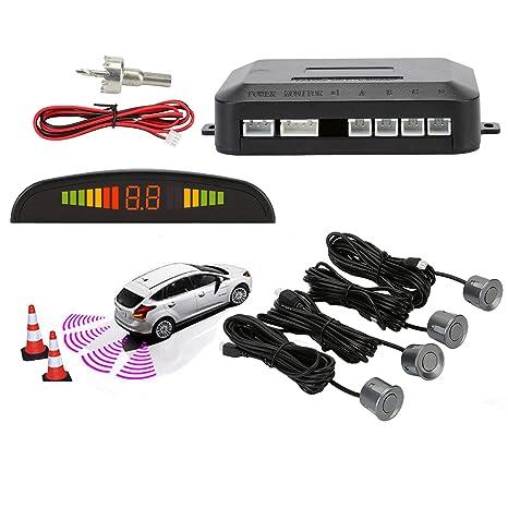 Sensores de Aparcamiento Marcha Atras,OSAN Kit de Auto LED Display + Alarma de Sonido + 4 Sensores Gris