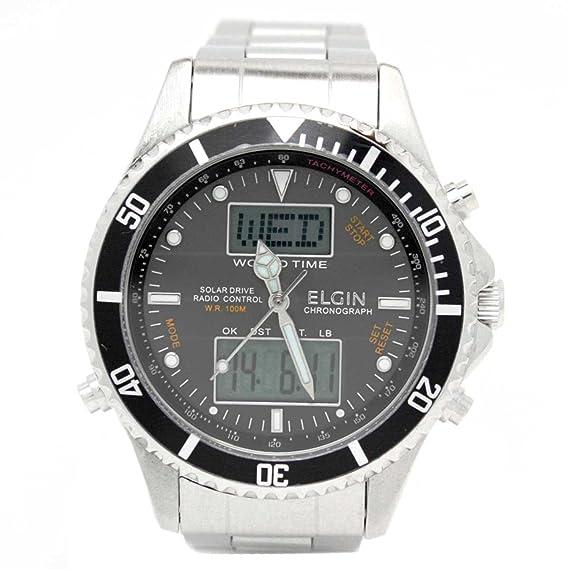 Elgin reloj Solar Radio analógico reloj digital 100 M resistente al agua negro x plata fk1349s-bp hombre: Amazon.es: Relojes