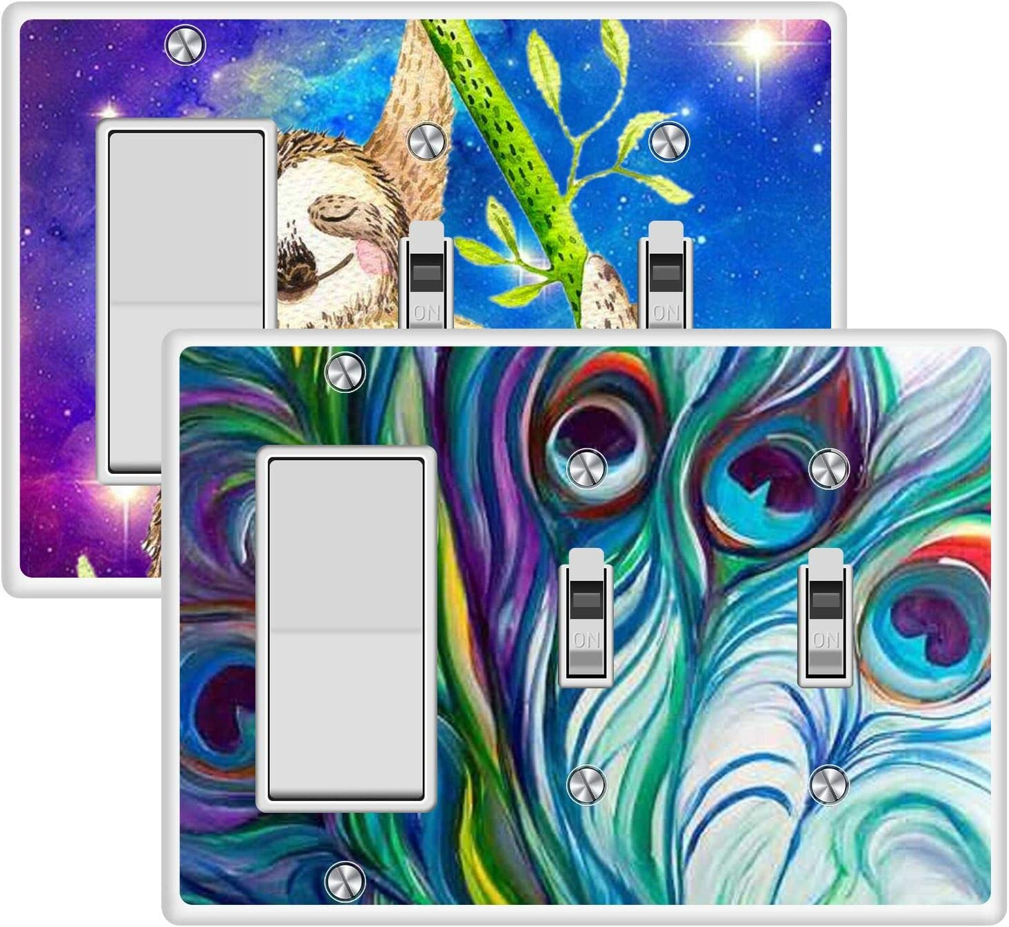 KANGHAR Square Single Decor+Double Toggle White Electrical Outlet Cover Plates Sloth Bear Mom and Kid Peacock Feather Wall Plates for Outlets