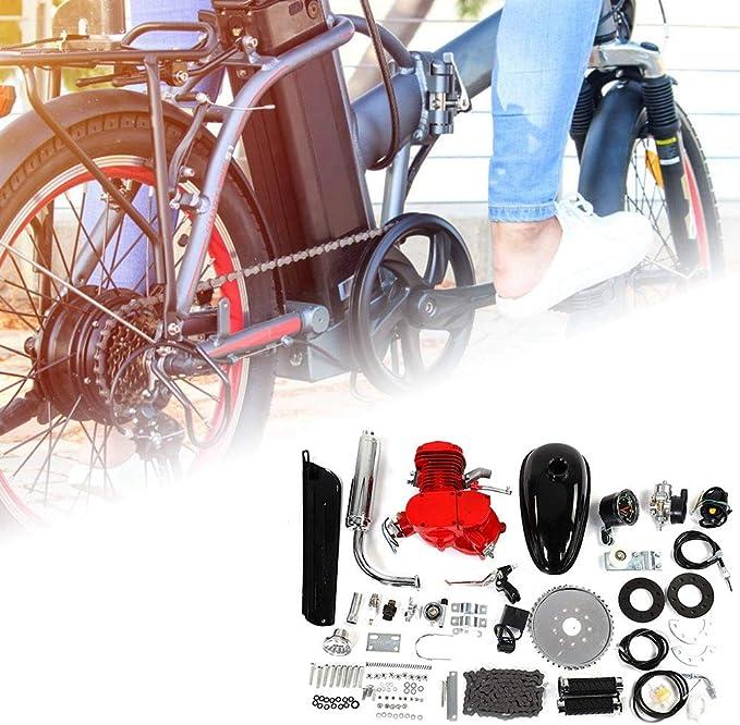 Zouminyy Kit de Motor de Bicicleta, Bicicleta de 80CC Bicicleta motorizada Ciclo de 2 Tiempos Kit de Motor de Motor de Gasolina de Gas Juego de velocímetro: Amazon.es: Coche y moto