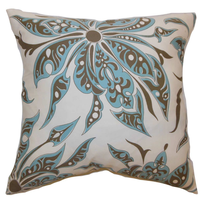 The Pillow Collection Baiamare Floral Bedding Sham Aqua Cocoa Standard//20 x 26
