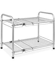 HOMFA Under Sink Shelf Extendable Storage Rack 2-Tier Steel Kitchen Organiser