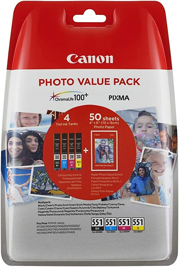 Canon Cli 551 Bk C M Y Druckertinte Multipack 4 X 7 Ml Für Pixma Tintenstrahldrucker Original Bürobedarf Schreibwaren