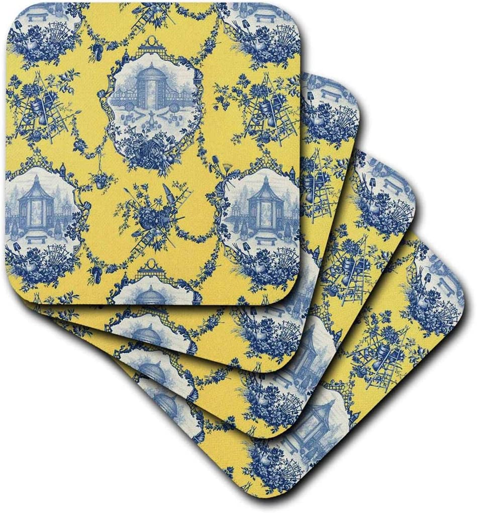 3dRose CST_218087_3 Garden French Toile Yellow and Blue Popular Toile Print Ceramic Tile Coasters (Set of 4),Multicolor