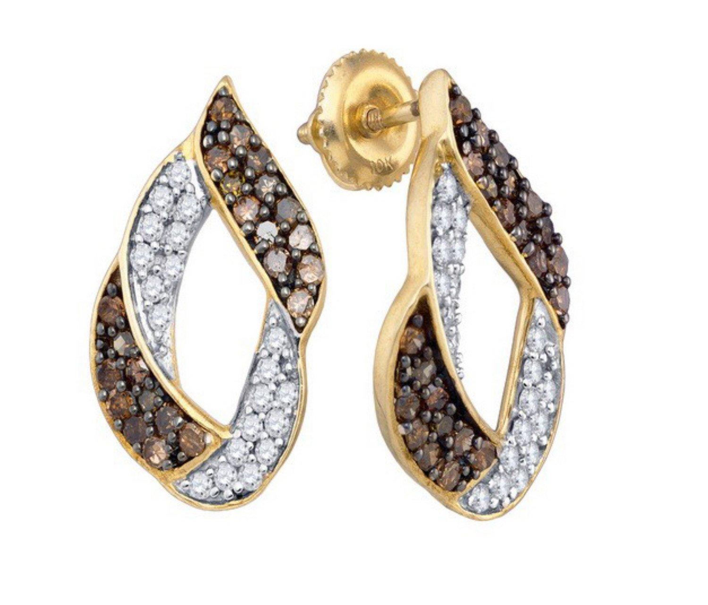 10K Yellow Gold Brandy Diamond Chocolate Brown Luxurious Earrings 1.00 Ctw.