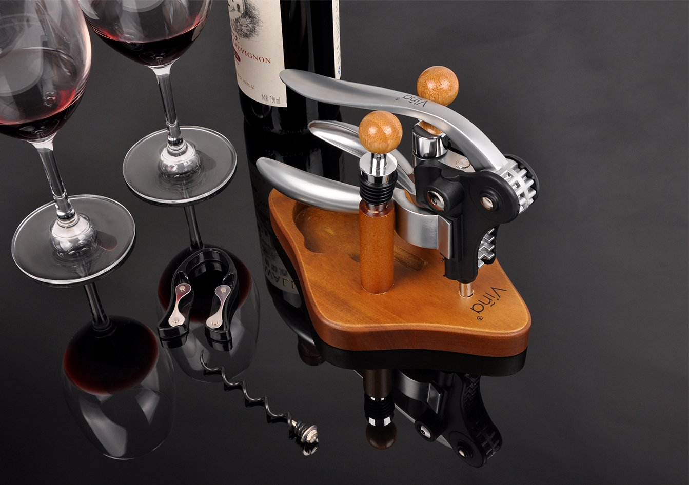 Rabbit Wine Bottle Opener Set with Bamboo Stand, 5 Piece Lever Corkscrew Remover, 2 Wine Stoppers, Foil Cutter, Extra Teflon Spiral, Best Gift for Wine Lover by Vina
