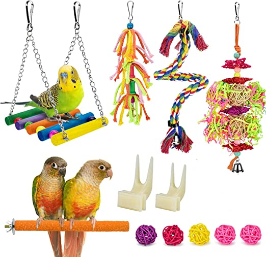 Amazon Com Katumo 12 Pcs Parrot Toys Colorful Swing Chewing Hanging Toys Rattan Balls Bird Perch Stand Fruit Forks Climbing Rope Toys For Parakeet Conure Cockatiel Mynah Love Birds Finch Small Pet