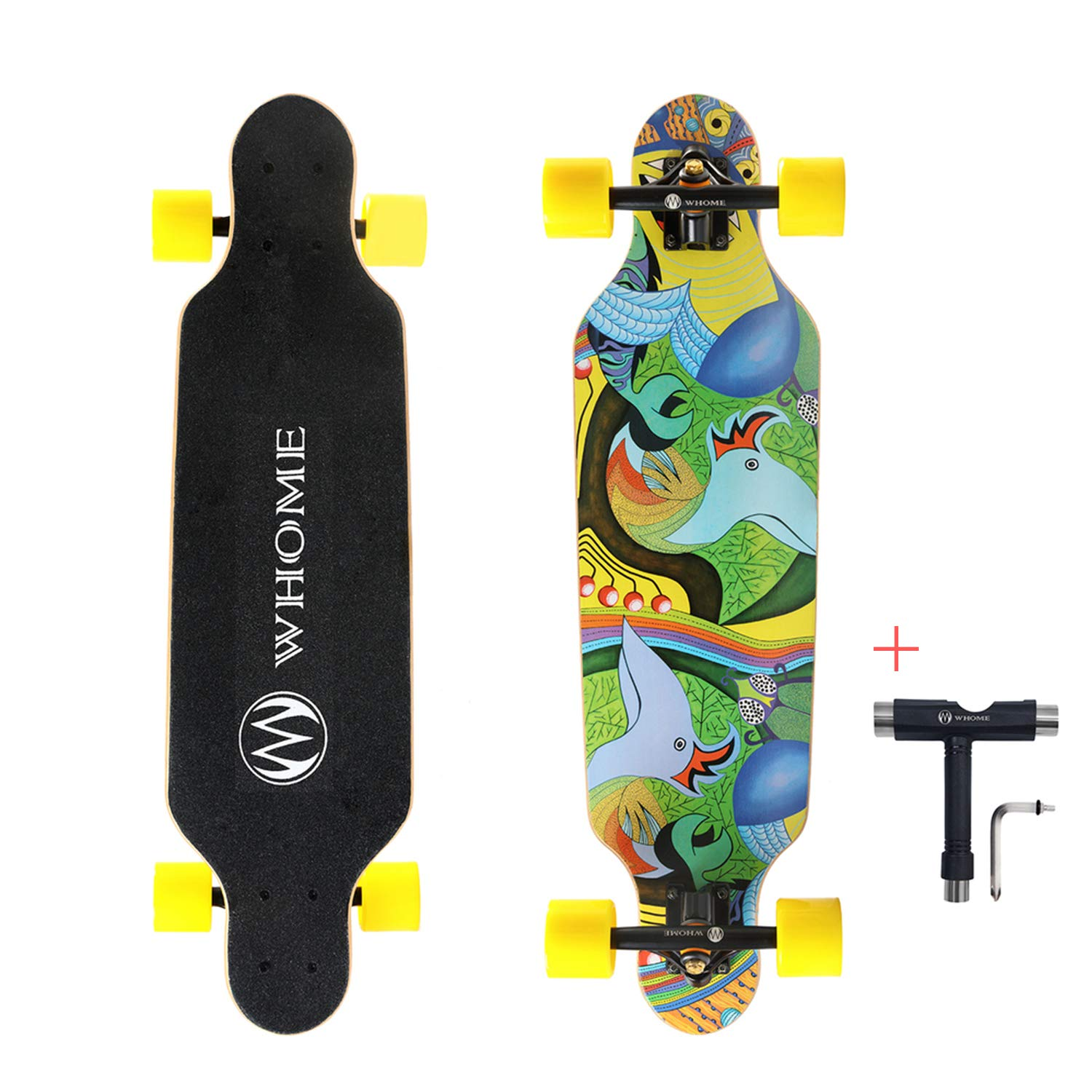 WHOME Skateboard Complete for Adults and Beginners - 31 Inch Small Longboard Skateboard Complete Carving Cruiser T-Tool Included by WHOME