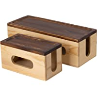 Set of Two Bamboo Cable Management Boxes - Large and Small in Rustic Wooden Colour - Cord Storage for Kitchen, Living…