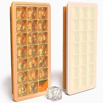 Bandejas de cubitos de hielo de silicona con Tapas de sellado - Cubos de Hielo Moldes