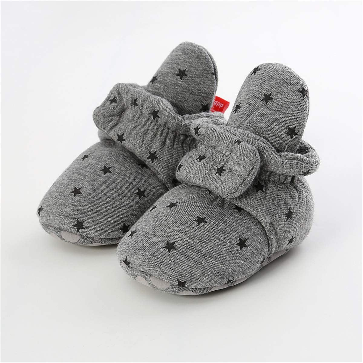 ENERCAKE Newborn Baby Boys Girls Cozy Fleece Booties with Grippers Stay On Slipper Socks Crib Infant Winter Shoes