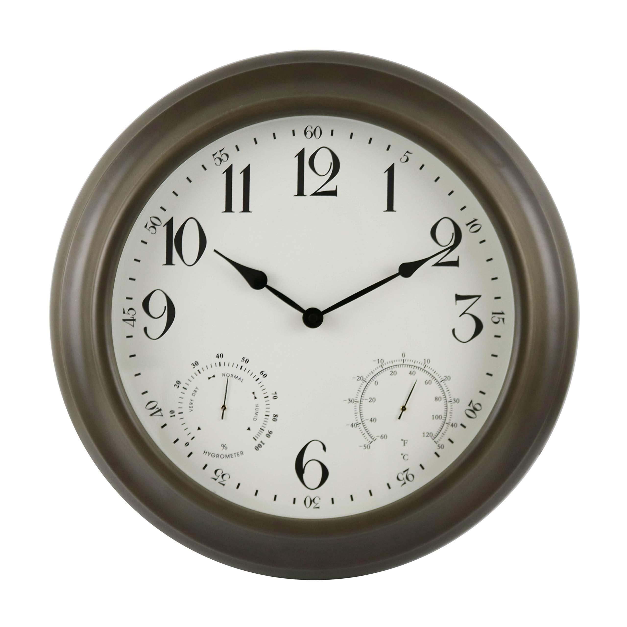 BACKYARD EXPRESSIONS PATIO · HOME · GARDEN 914935 24'' Metal Indoor/Outdoor Weather Monitoring Clock, Rustic Brown