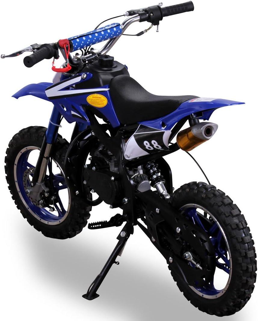 Ni/ños Mini Moto Cross Delta 49 cc 2 tiempos Moto Cross Dirtbike Bolsillo Cross mini Bike azul