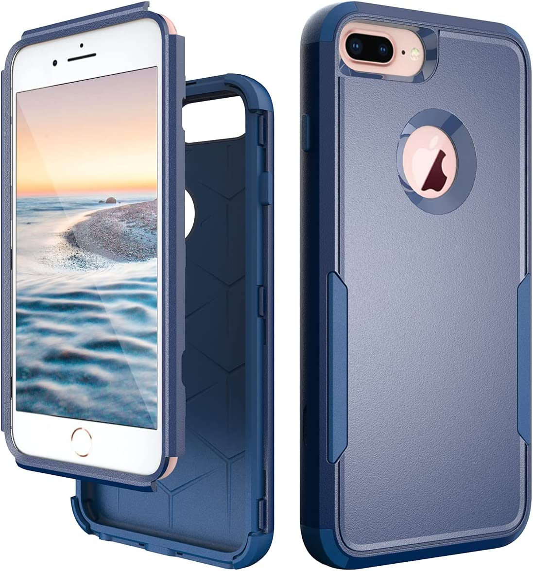 Fingic iPhone 8 Plus Case, iPhone 7 Plus Case, iPhone 6 Plus Case 3 in 1 Heavy Duty Full Body Protection Shockproof Protective Phone Case Cover for Apple iPhone 8 Plus & 7 Plus & 6 Plus, Navy Blue