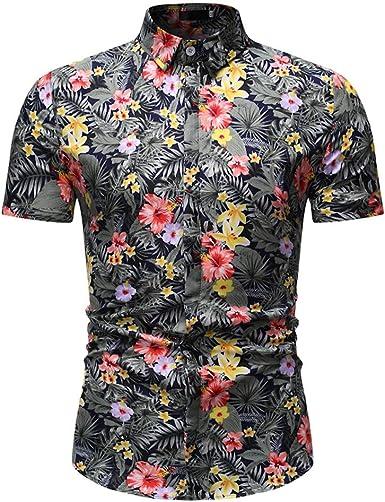 CAOQAO Camisas Hombre Manga Corta Camisa Hawaiana Hombre Casual Trend Nuevo Estampado Negro: Amazon.es: Ropa y accesorios