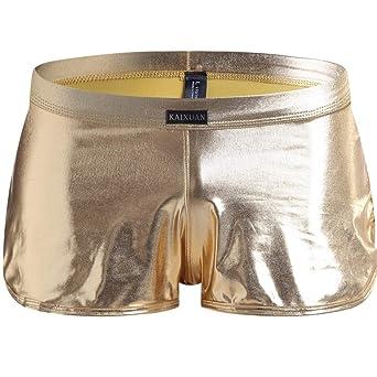 Berrose Slip mit Vier Ecken Unterwäsche aus Lackleder Nachtclub-Stil Ouvert Herren Lackshorts Boxershorts Clubwear Lackhose R