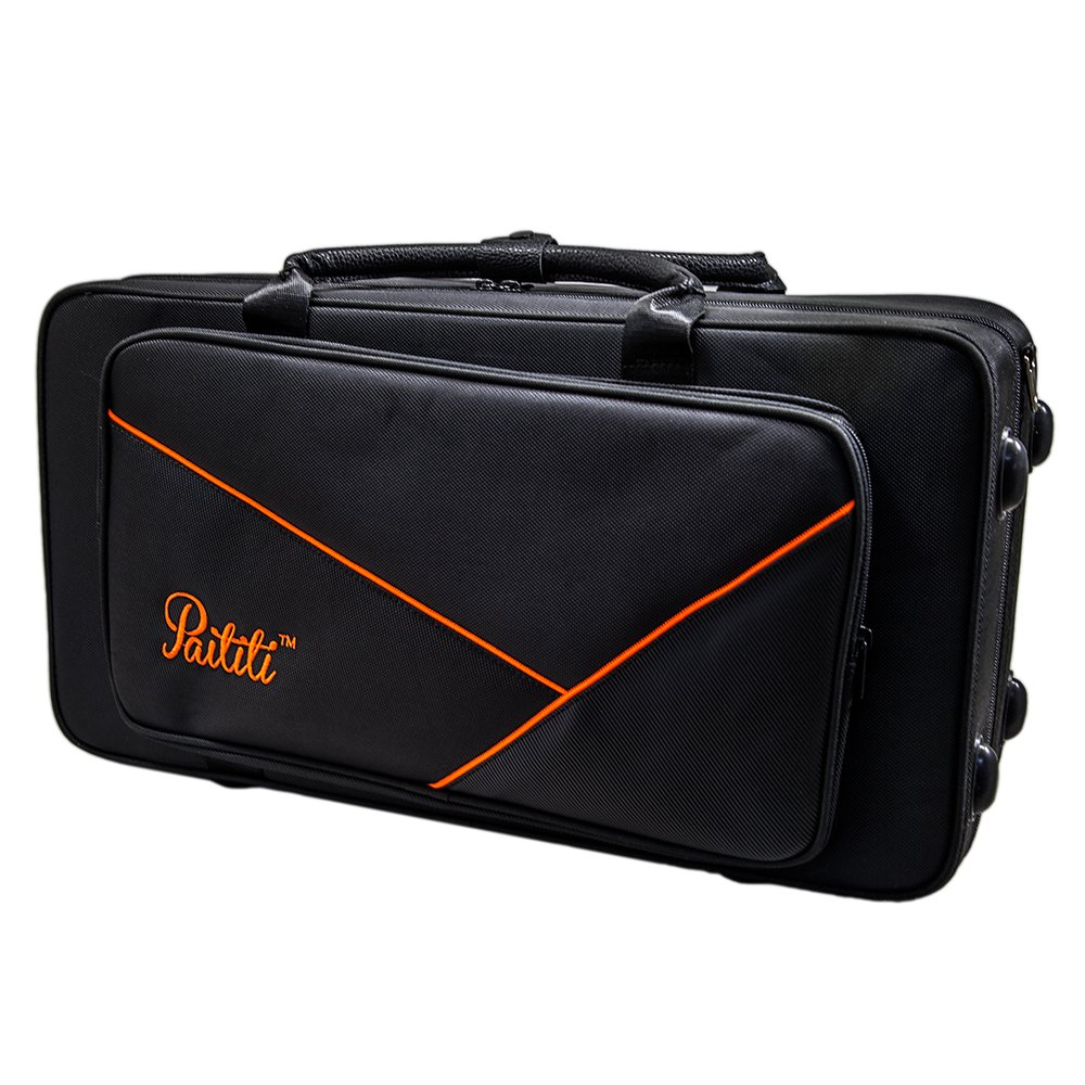 Paititi PTALTLW102 Lightweight Alto Saxophone Case Durable with Backpack Straps, Black/Yellow