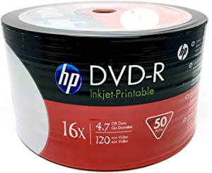 HP 200 16X DVD-R 4.7GB White Inkjet Hub Printable (Shrink Wrap)