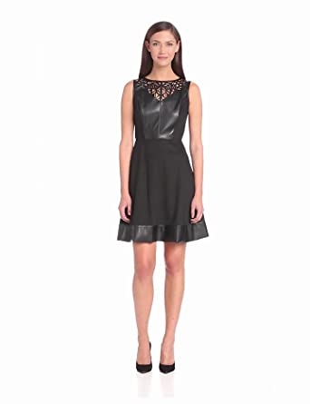 Donna Morgan Women's Leather Laser Detail Fit and Flare Dress, Black, 2