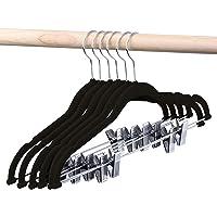 HOUSE DAY Velvet Skirt Hangers 24 Packs Velvet Hangers with Clips Ultra Thin Non Slip Velvet Pants Hangers Space Saving Clothes Hanger (Black)