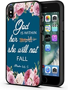 Good-Luck iPhone XR Case,Christian Bible Verses Psalm 46:5 with Pink Flower Slim Anti-Scratch Shockproof Leather Grain Soft TPU Back Protective Cover Case for iPhone XR (2018) 6.1 Inch