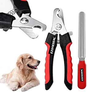 Dog Nail Clippers and Trimmer - With Safety Guard to Avoid Over-cutting Nails & Free Nail File - Razor Sharp Blades - Sturdy Non Slip Handles - For Safe, Professional At Home Grooming