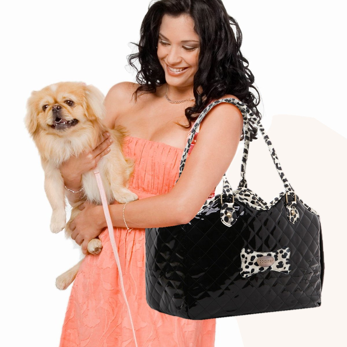 Dog Carrier Purse Pet Travel Bag Cat Portable Handbag,Soft Sided Tote with 2 Fleece Pads for Small Pets,Come with a Pet Comb,Up to 15lbs,Easy to Storage,Go Hiking Shopping with Your Doggy (black) by ZOOSTAR (Image #3)