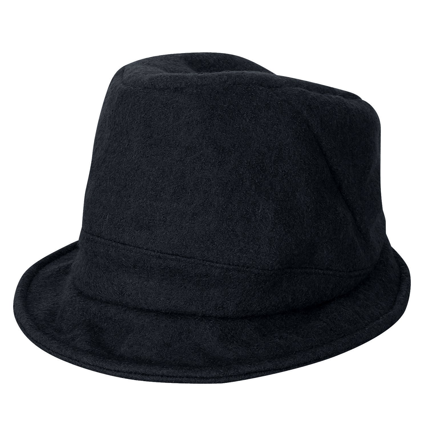 58fb64459ce ililily Wool-Blended Wired Brim Fedora Solid Color Feminine Bucket ...