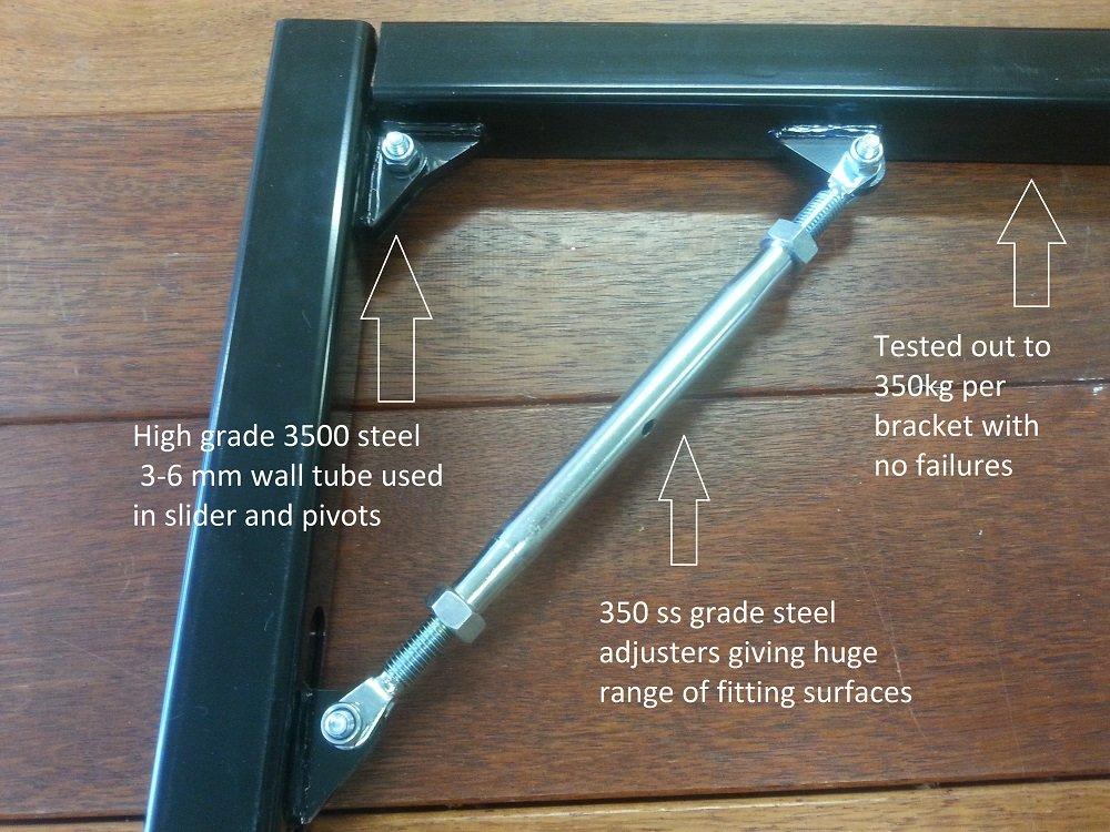 AUSSIE BRACKET , FOLD DOWN ADJUSTABLE BRACKET X600FA