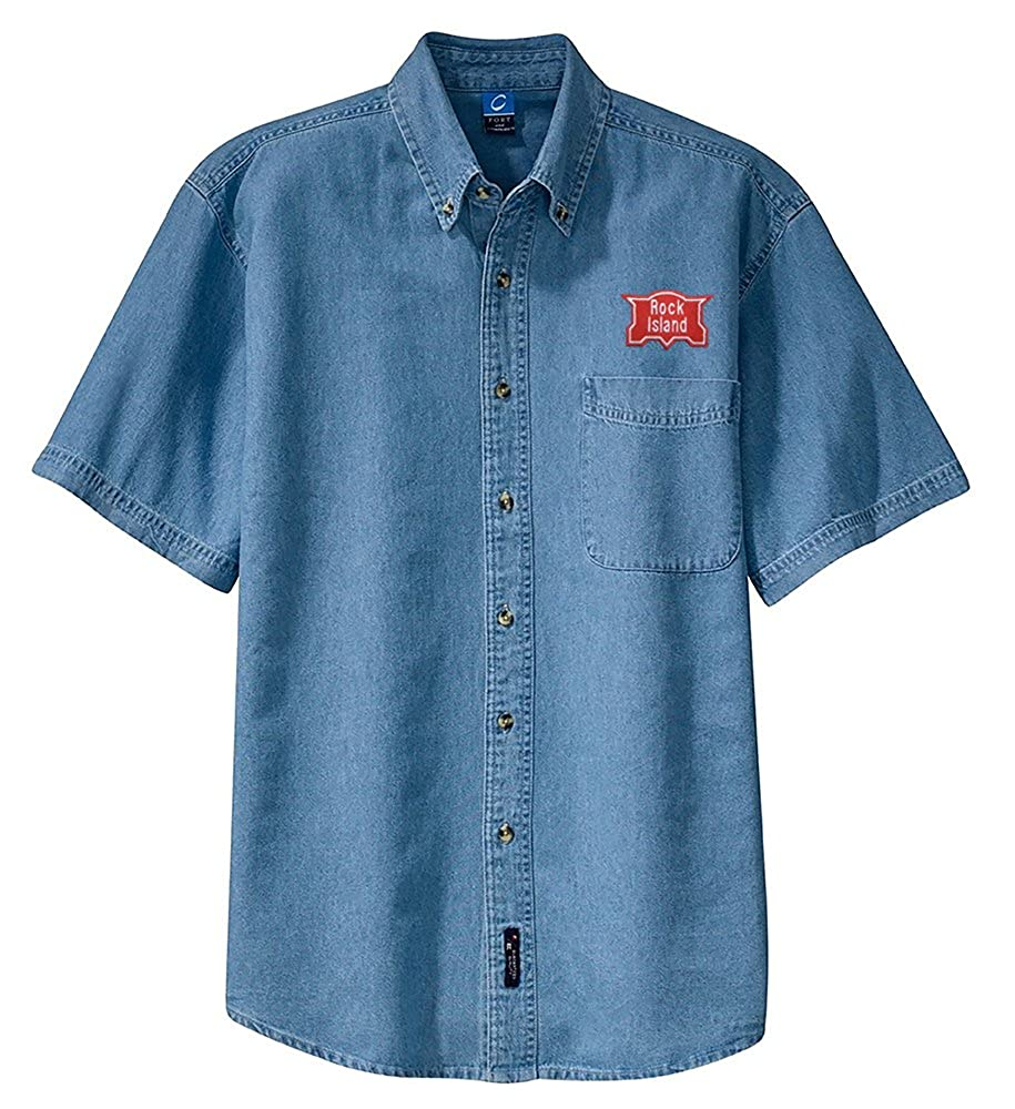 den19SS Chicago Rock Island /& Pacific Short Sleeve Embroidered Denim