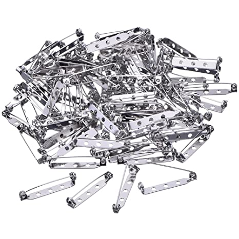 100 Pcs Badge Pins,Brooch Backs Catch Bar Fasteners Safety Cloth Diaper Nappy