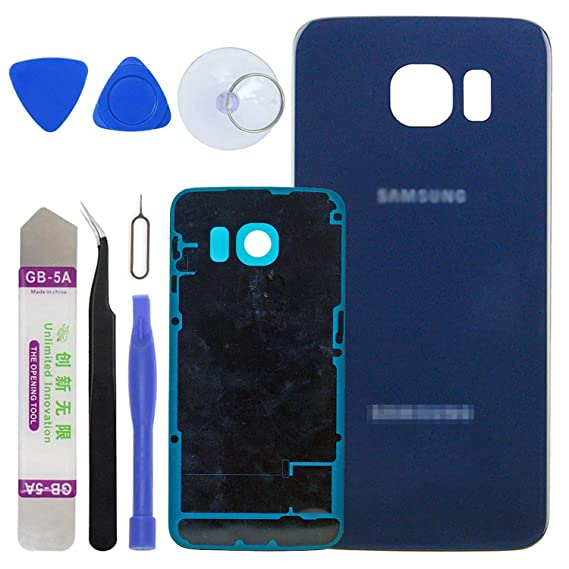 premium selection b2ed6 e53ac LUVSS New Back Glass Replacement for [Samsung Galaxy S6 Edge] G925 (All  Carriers) Rear Cover Glass Panel Case Door Housing with Opening Tools Kit  ...
