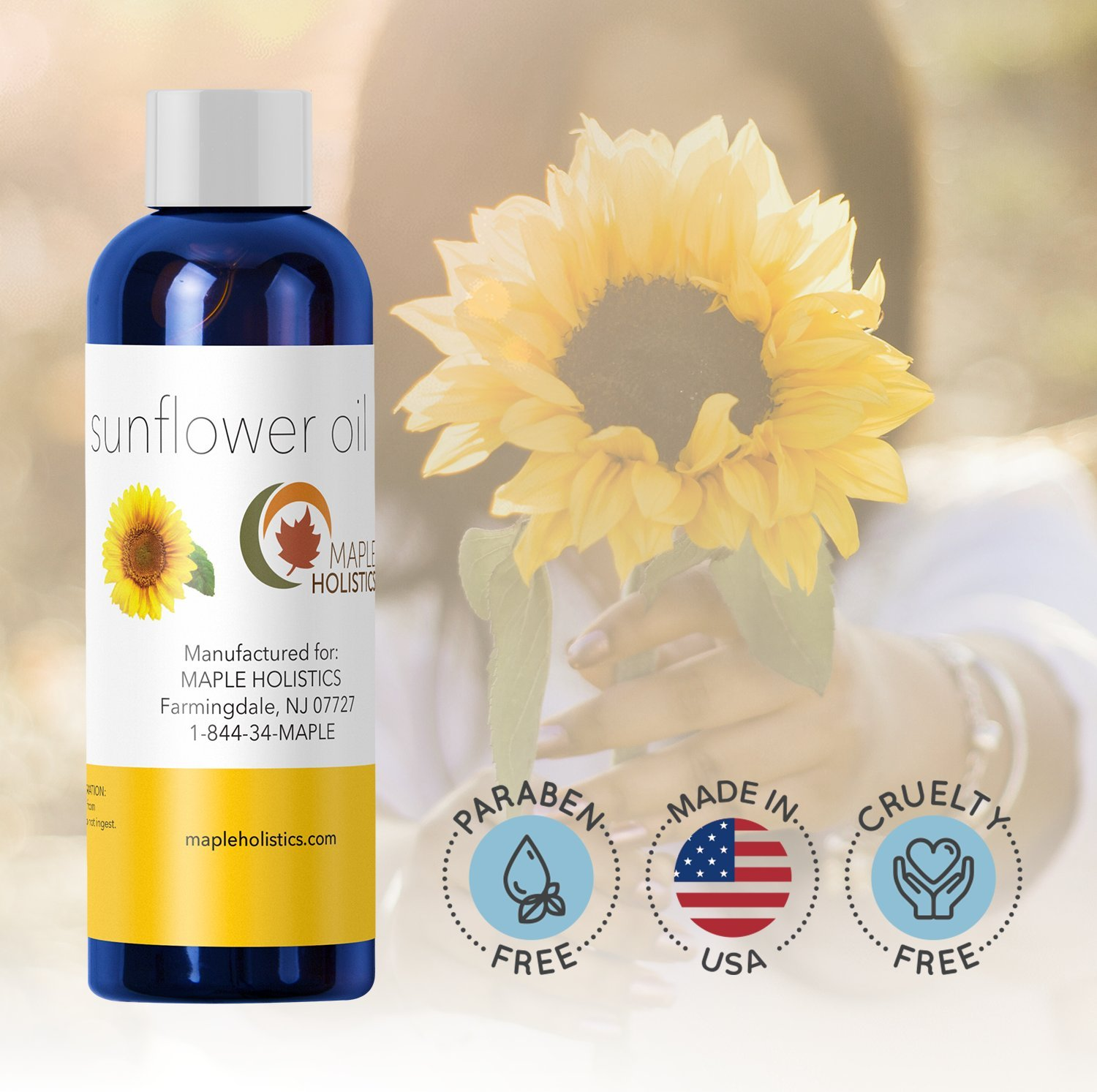 Pure Sunflower Oil Moisturizer for Face Body and Hair Cold Pressed