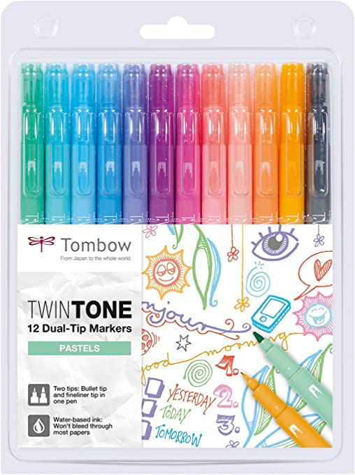 Tombow  twin tone dual tip markers pastels
