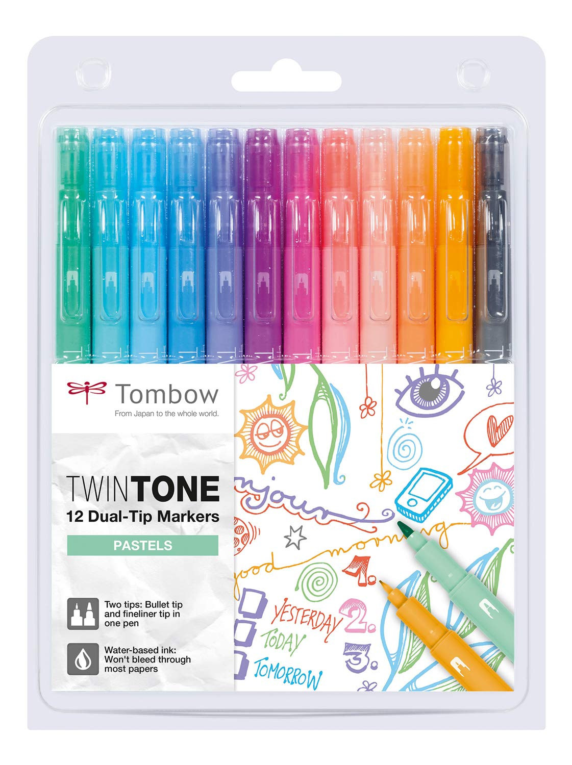 Tombow WS-PK-12P-2 Twin Tone Dual-Tip Marker Pastel Colours Pack of 12