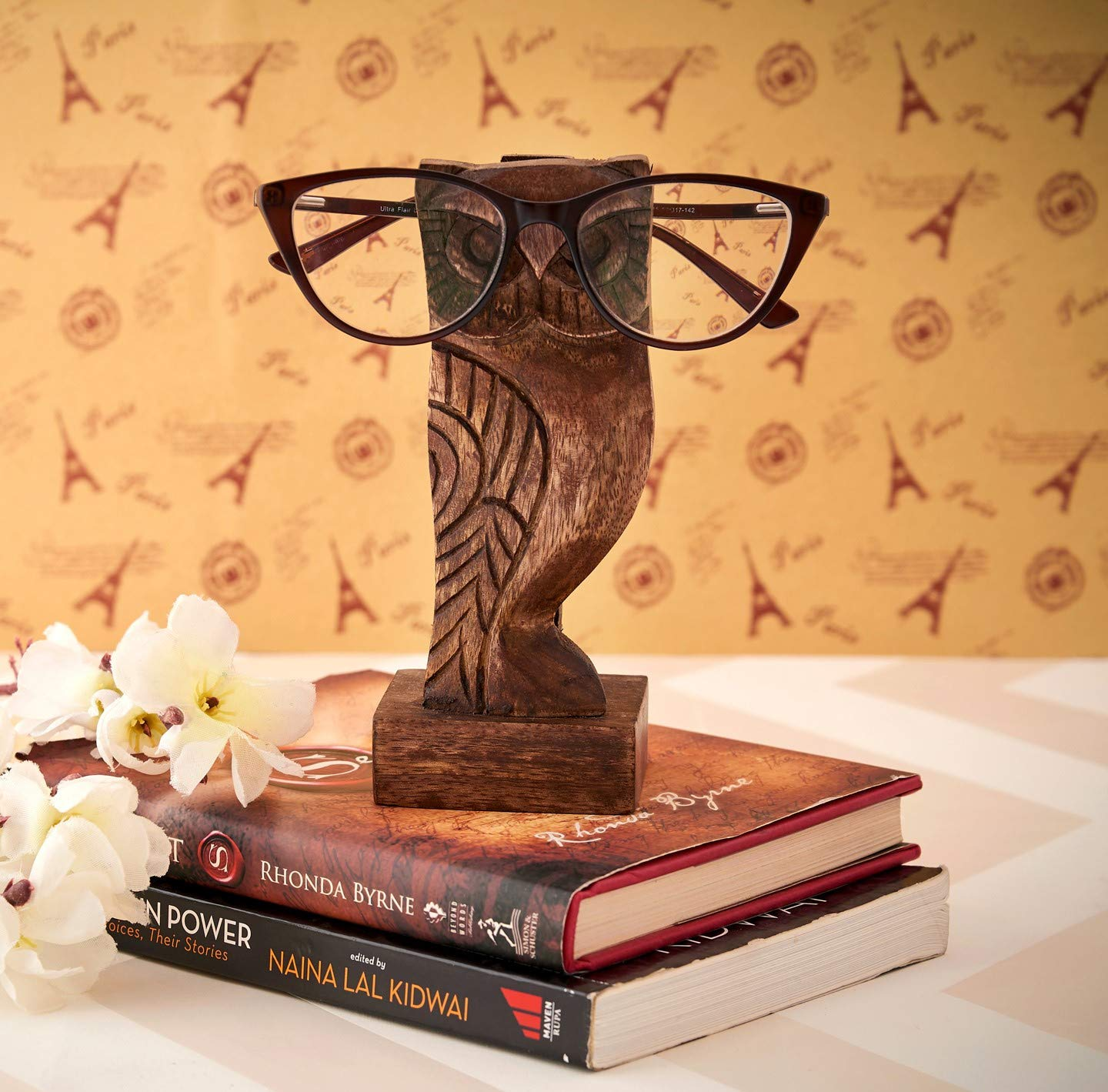 Eximious India Owl Eyeglass Holder Spectacle Holder Wooden Handmade Bedside Display Home and Office Decor Desk Eyeglasses Holder Glasses Gifts for Kids Him Her Mom Dad Eyeglass Retainers for Men