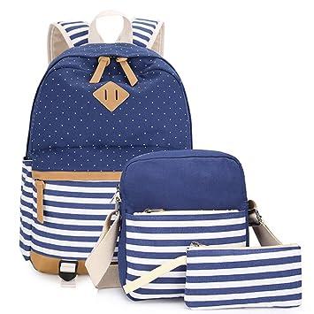Universidad de Las Mochilas Escolares Para Chicas Bolsa De Hombro Mensajero 3 Piezas Azul: Amazon.es: Equipaje