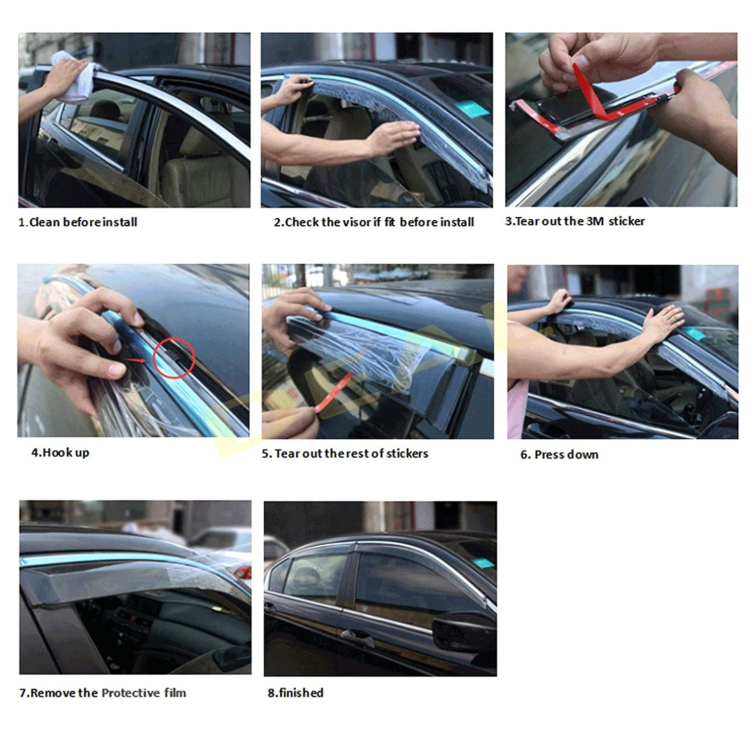 DEAL 4-piece set vent window visor with smoke chrome trim high-class quality custom fit for 2018 2019 Honda Accord 4-Door Sedan side window deflector with outside mount tape-on type