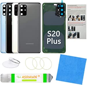 Galaxy S20+ Plus Back Glass Cover Housing Door Replacement w/All The Adhesive+Pre-Installed Camera Lens+Installation Manual+Repair Tools for Samsung Galaxy S20 Plus SM-G985 All Carriers (Cosmic Grey)