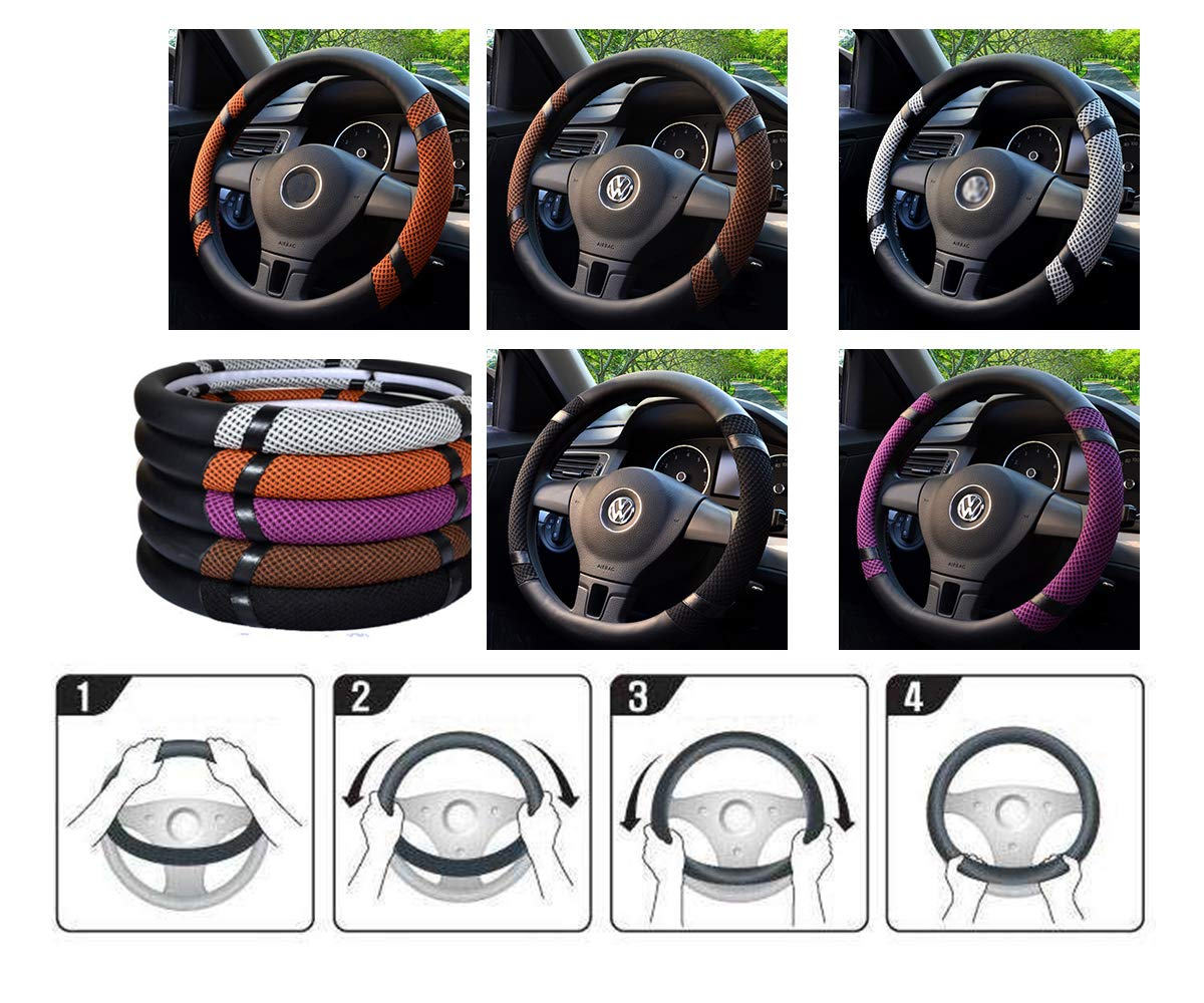 Demarkt Leather Car Steering Wheel Covers Ice Silk Breathable Non-slip Steering Wheel Holster for Universal Car Grey Fit 38cm//15 inch